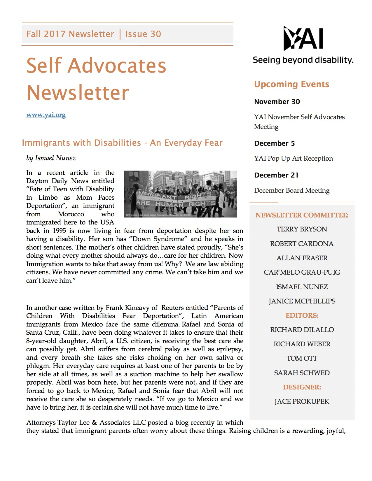 Image of the first page of the Fall 2017 Self Advocates Newsletter