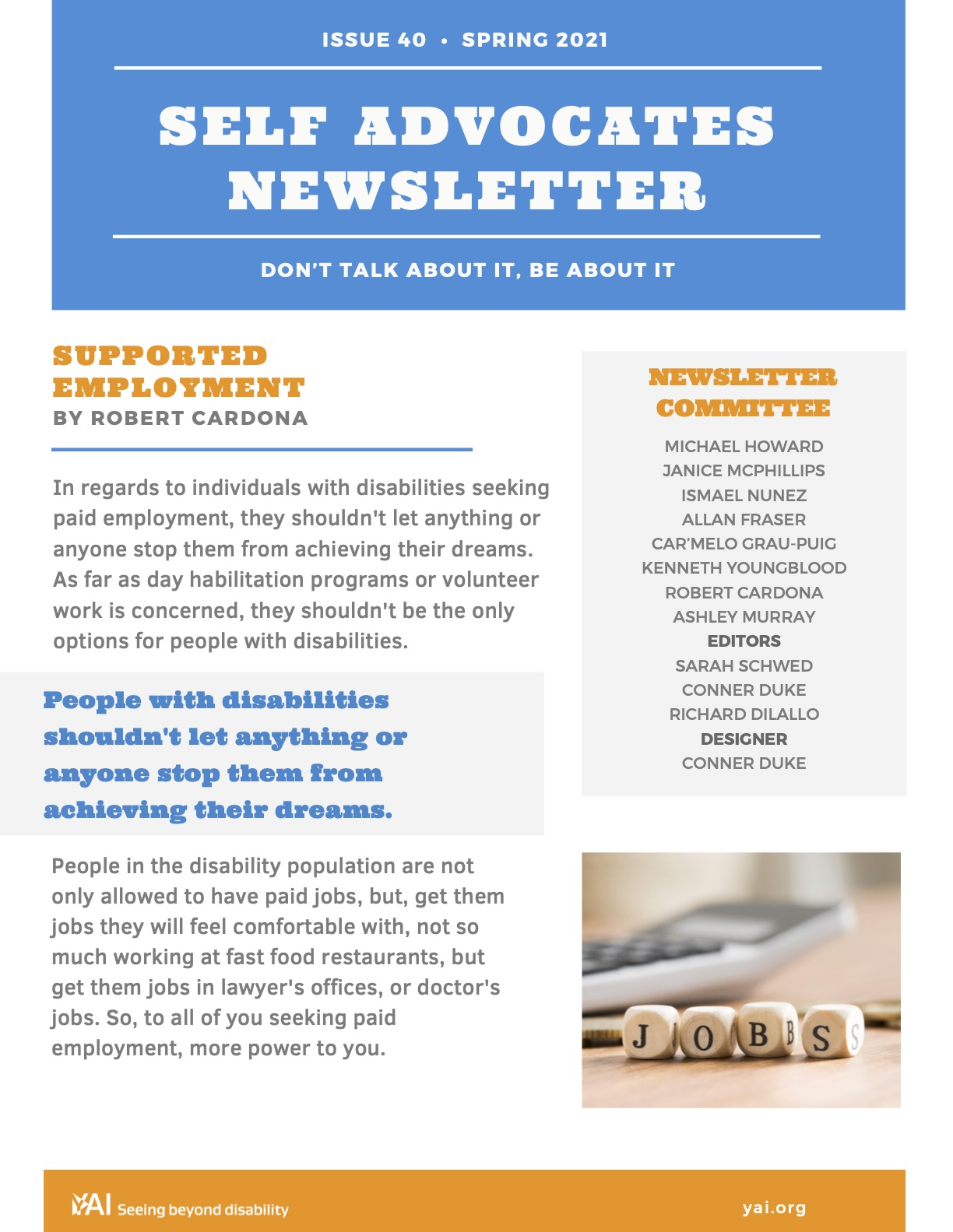 Front page of the Spring 2021 Self Advocates Newsletter