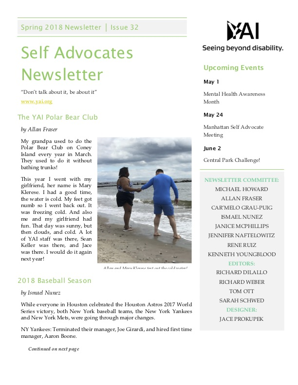 Front page of the Spring 2018 Self Advocate Newsletter