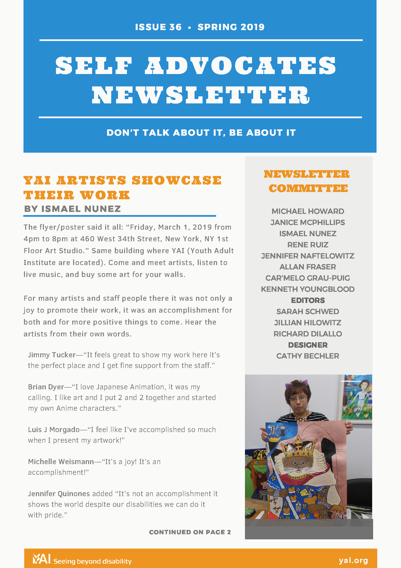 Front page of the Spring 2019 Self Advocate Newsletter
