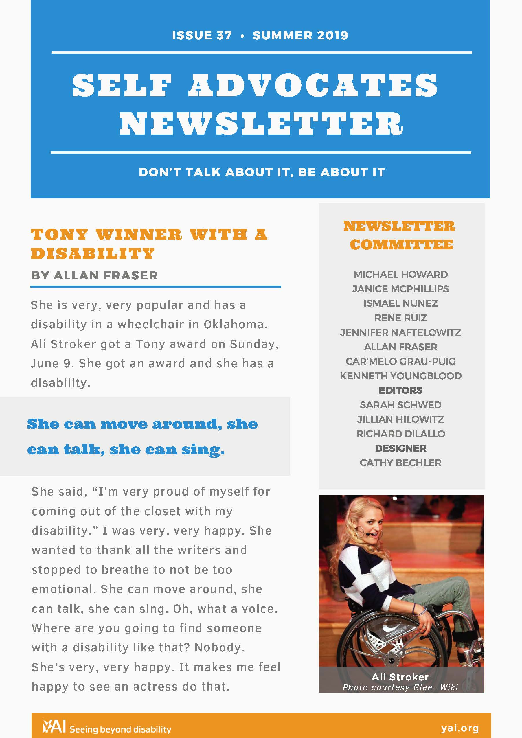Front page of the Summer 2019 Self Advocate Newsletter
