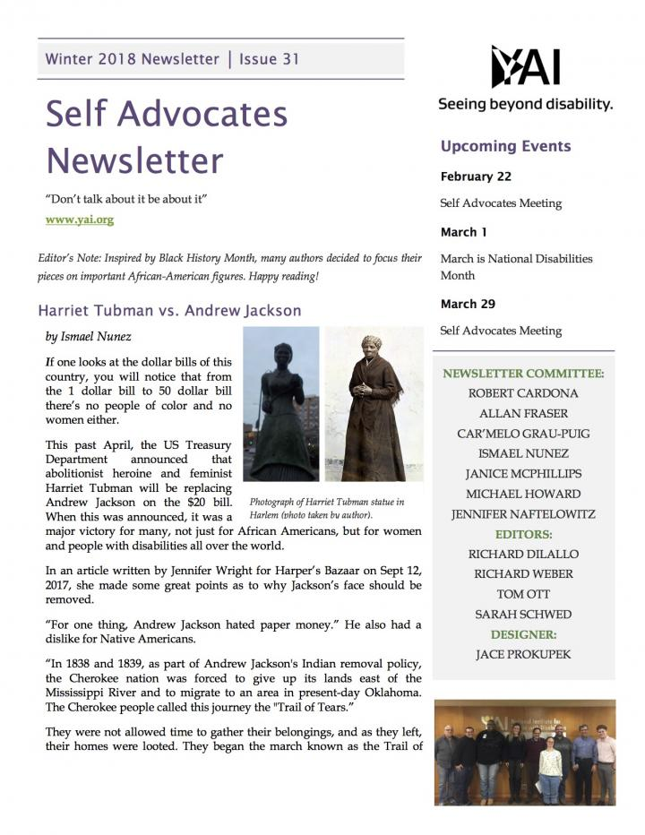 Front page of the Winter 2018 Self Advocate Newsletter