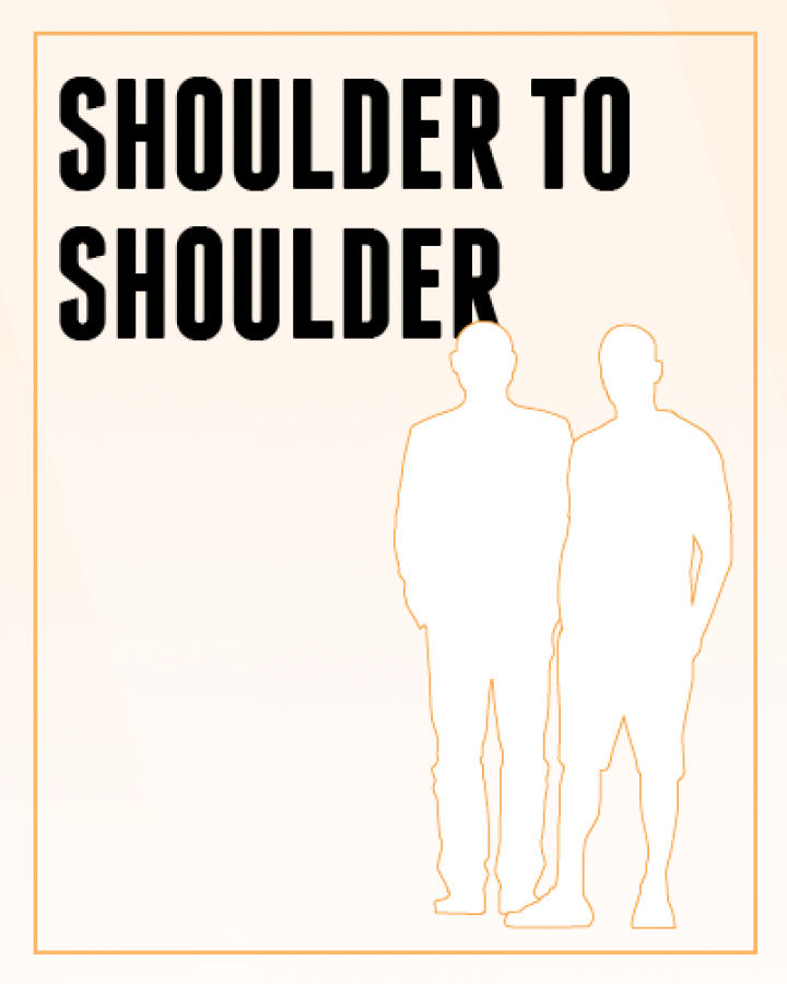 Shoulder to Shoulder - silhouette of 2 men standing next to each other