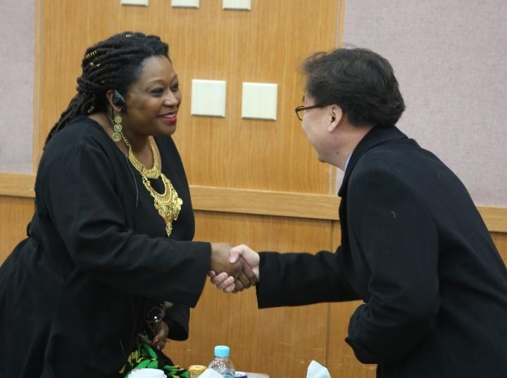 YAI's Connie Senior meets with attendees during her training session in Seoul, South Korea.