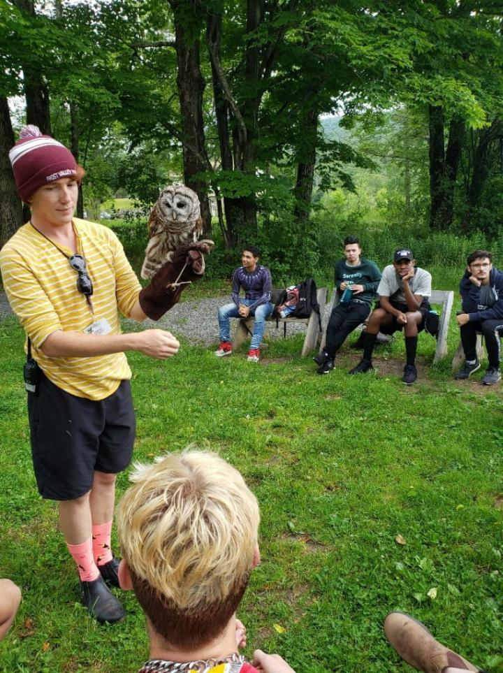 Bird of prey demonstrations are a part of YAI's MAC camp experience.