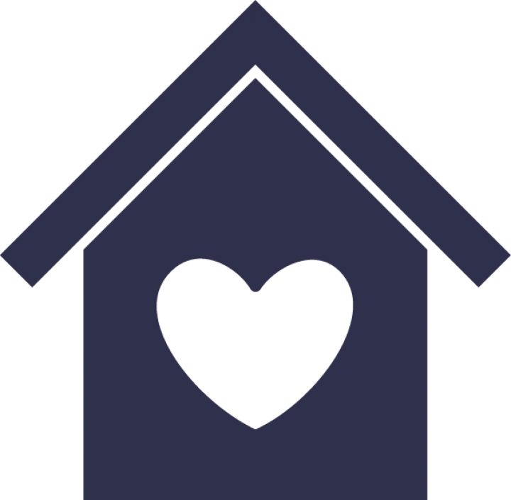 Simple icon of a house with a heart in the middle