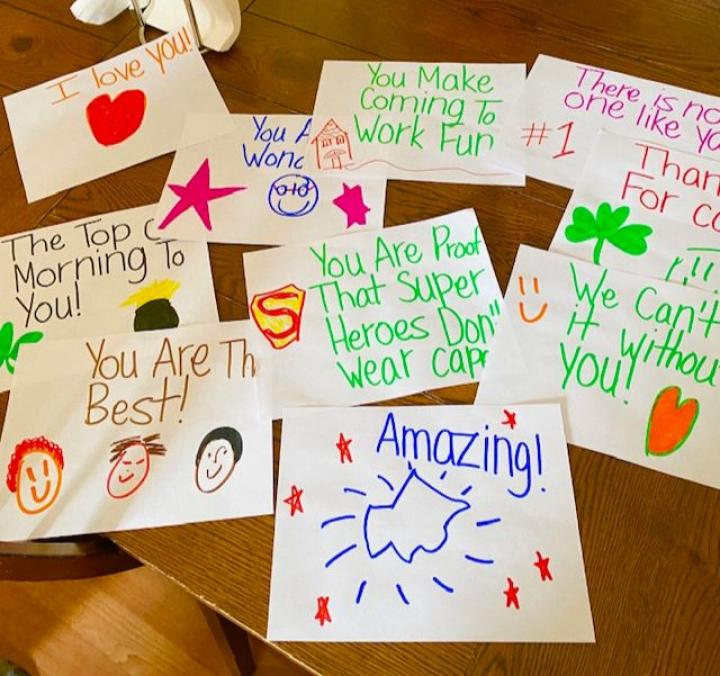 "Collection of positive notes with messages like ""You are the best"", ""amazing"", and ""we can't do it without you"""