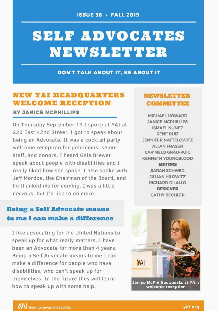 Front page of the Fall 2019 Self Advocate Newsletter