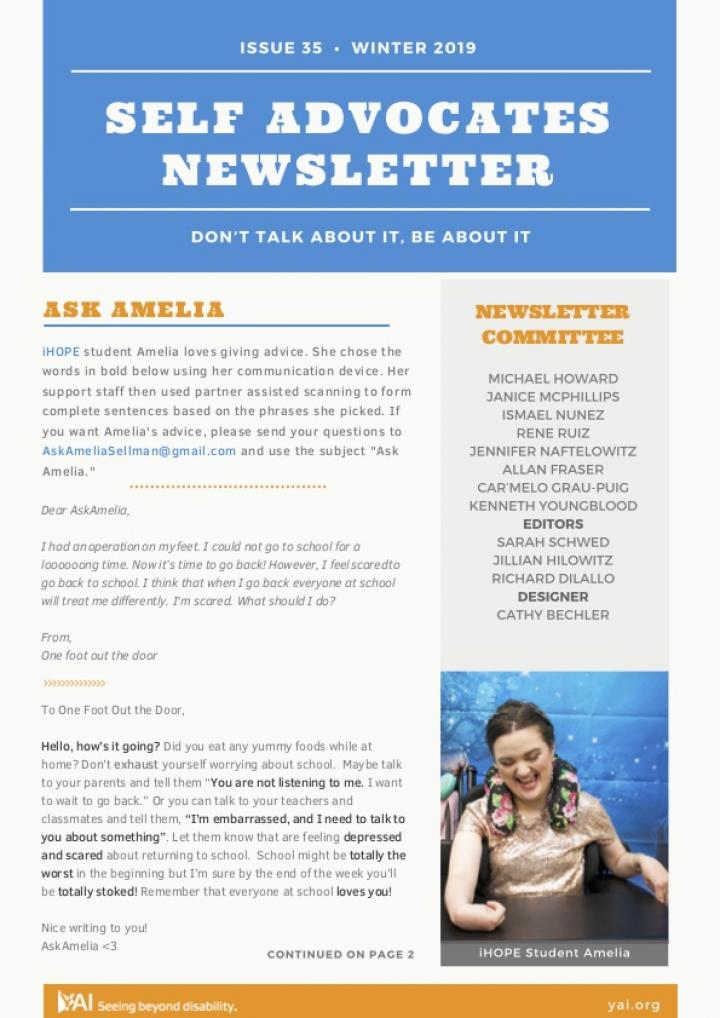 Front page of the Winter 2019 Self Advocate Newsletter