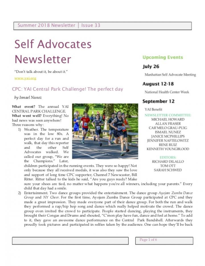 Front page of the Summer 2018 Self Advocate Newsletter