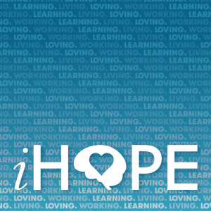 "iHOPE logo on a green background with repeating text ""living, loving, learning, working"""