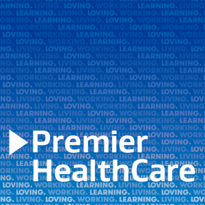 "Premier HealthCare logo on blue background with repeated text ""living, loving, working, learning"""